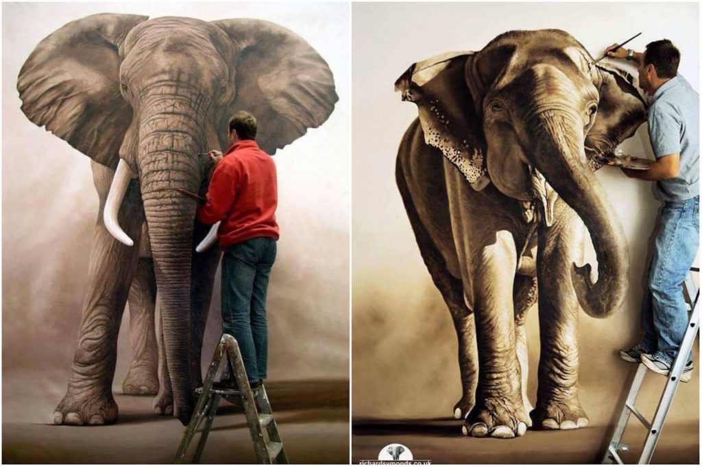 Richard Symonds pintura elefante