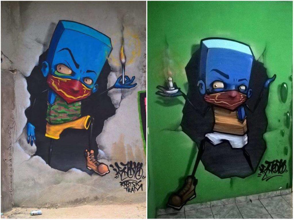 azulao saindo da parede