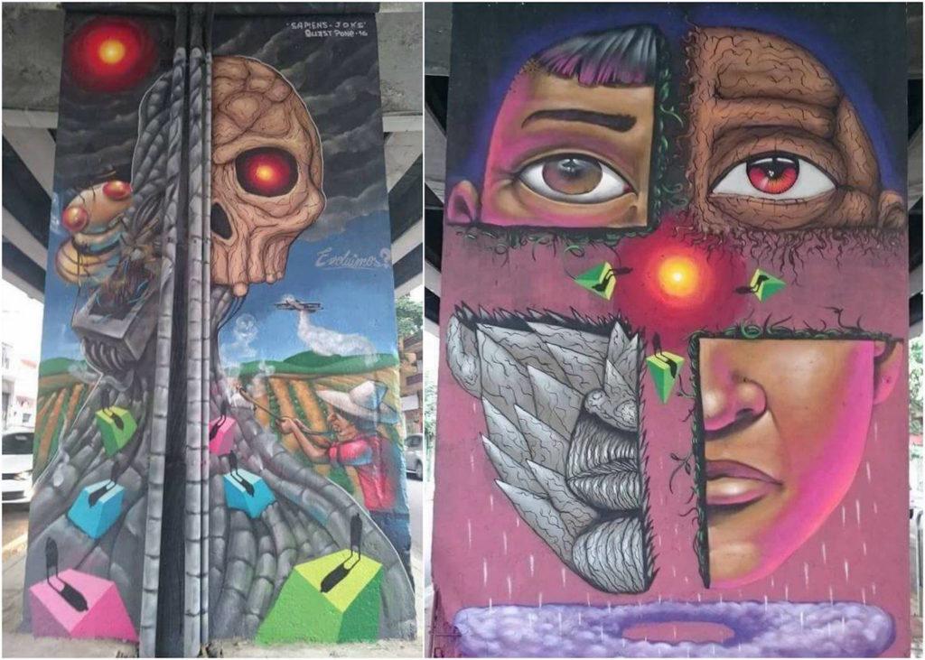 sapiens e joks - mural arte