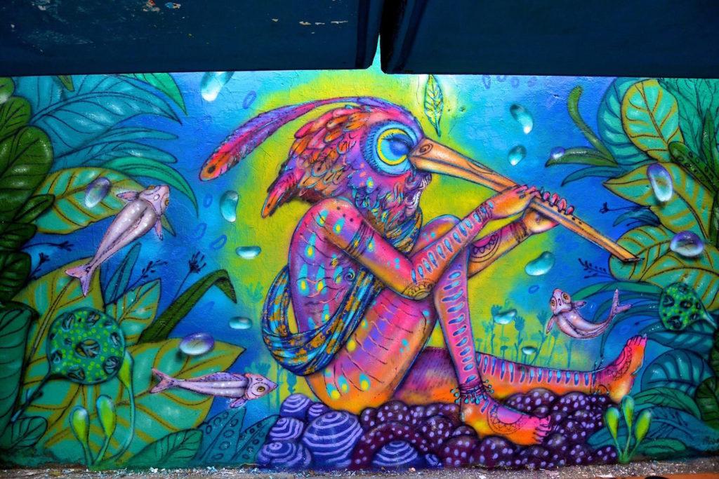 Calangos - homem e natureza mural arte graffiti