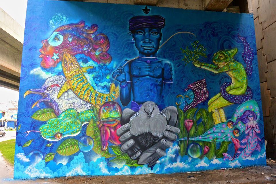 LeandroWith Oliveira e calangos - mural graffiti