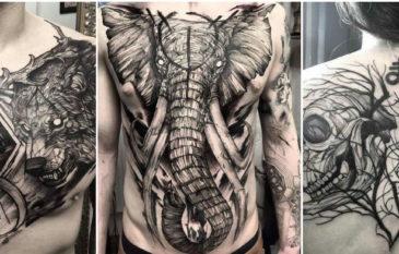 """As tatuagens incríveis de """"Fredão Oliveira"""" no estilo BlackWork"""